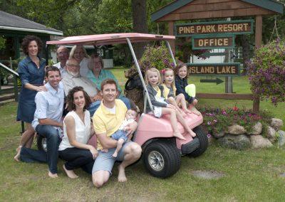 pink golf cart shot